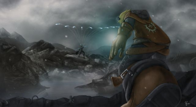Ashe vs Ezreal color by Skullhayate