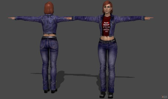 ME3 Shepard Jeans Suit by g1pno
