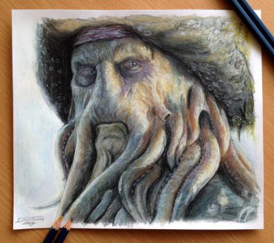 Davy Jones Color Pencil Drawing by AtomiccircuS