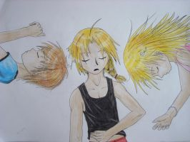 Ed Al and Winry - Nap by sapphiresky1410