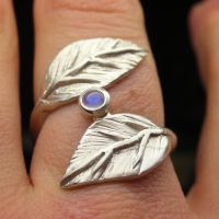 Leaf wrap and moonstone by Vansee-Jewelry