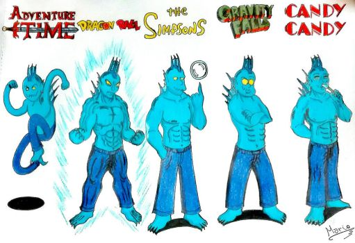 Triton in five different styles of drawing. by Mario-19