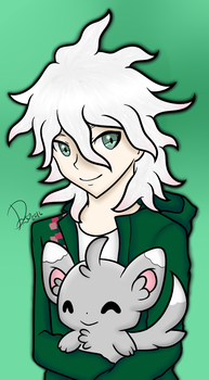 Nagito Komaeda with Minccino by Domenica-chan999