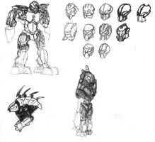 Bionicle Pen Sketches by 0nuku