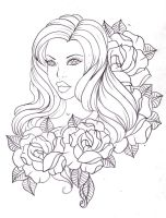 A lady among roses by Nevermore-Ink