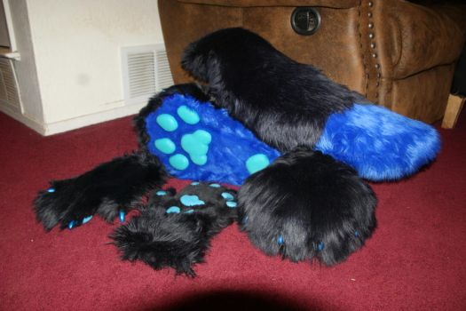 FURSUIT PROGRESS- hands feet and tail by IcedSteelWolf