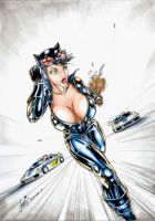 Sexy Catwoman running from the police cars by HM1art