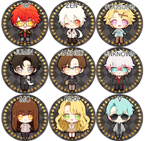 Mystic Messenger Buttons by Pikiru