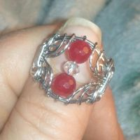 Ruby and Swarovski Crystal Filigree Ring Stainless by BESTGEM4U