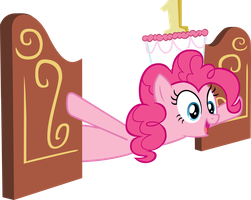 Pinkie Pie with cake as hat by CrusierPL
