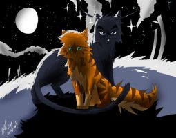 Crowfeather and Leafpool by WhiteFlameSoul