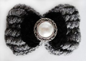 Black and Grey Glam Bow by HippieFaerie