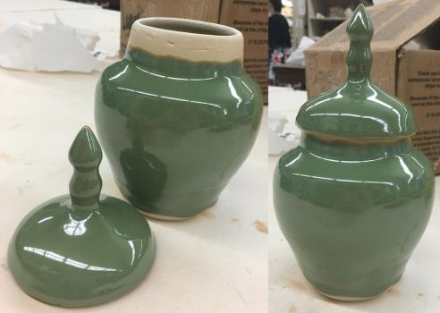 Green Dome Lidded Vase by Bards-Tale