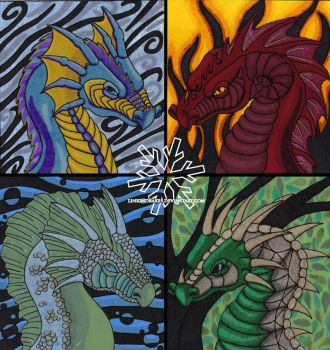 Elemental Dragons by LuckyDrakes