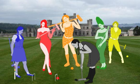 The Fictional Six play croquet by Honey-Hovercraft