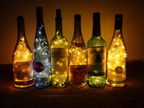 Wine Bottle Lights by Hiddendemon-666