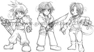 Chibi Cloud, Squall and Zidane by gemiange
