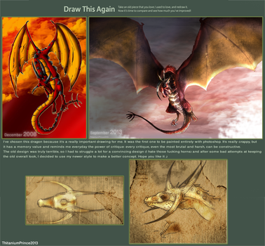 Draw this again: Red Dragon by ThitaniumPrince