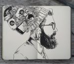 #115 The Head of a Hipster by 365-DaysOfDoodles