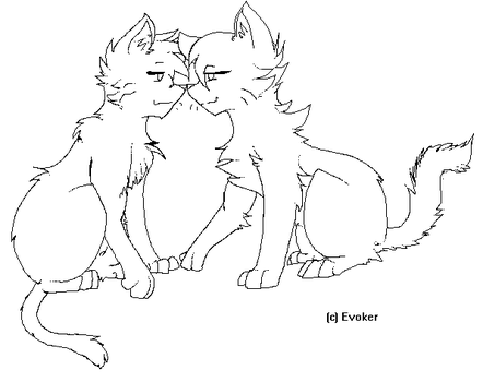Cat Couple Lineart by Maskkey