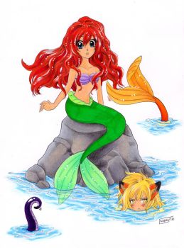 Ariel and Kapsy and the mysterious tentacle by DiedOfEyes