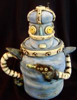 blue robot cookie jar by thebigduluth