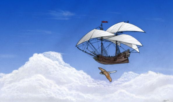 Owl Griffin and the Flying Ship by RobtheDoodler