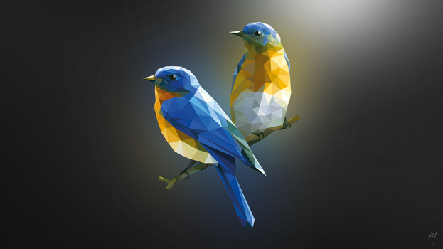 Bluebirds Illustration by ChubbaART
