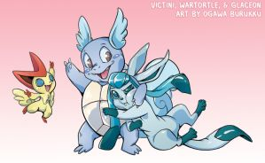 Pokemon Drawz Day 2: Victini Wartortle Glaceon by OgawaBurukku