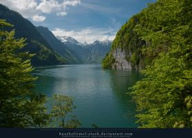 Alpine Lake from above - Mountains 03 by kuschelirmel-stock