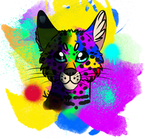Rainbow Serval by FoxyLilly