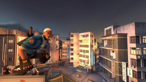 Ninja Scout in Sunset City by Robot11