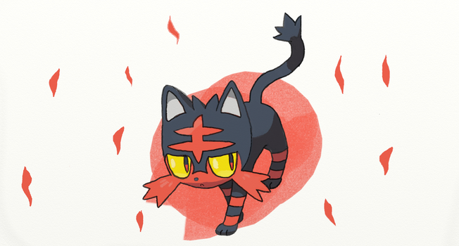 Alola Pokedex #4 Litten by sketchbase
