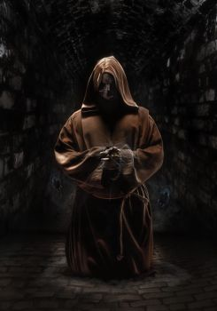 fake monk in dark temple by agroeni