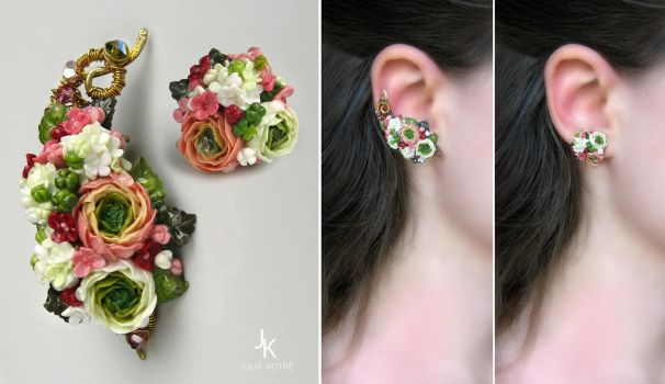 Ear cuff and stud Summer gardens by JuliaKotreJewelry