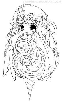 Cotton Candy Lineart by YamPuff