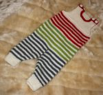 Baby striped scrap yarn rompers by KnitLizzy