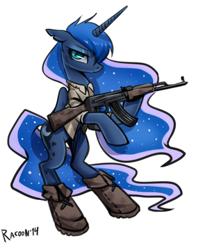 sketch Luna in the apocalypse by RacoonKun