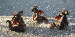 Mini Lava Dragons! Polymer Clay Dragons by MiniMythicalMonsters