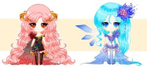 Fire Rose and Ice Lily - Chibi adopts [1/2 OPEN] by LunardreamerEmy