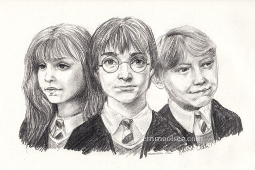 Harry, Ron, and Hermione by avaunt