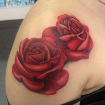 realistic rose tattoo by annyanarchystriker