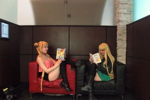 Casual Sailor Moon and Venus aka Usagi and Minako by shelle-chii