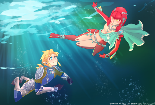 Link and Mipha - Breath of the Wild by HoPiuFameStudios