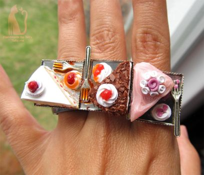 Bakery rings - Polymer clay cakes by Talty