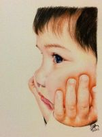 Color pencil portrait of a baby boy by chaseroflight