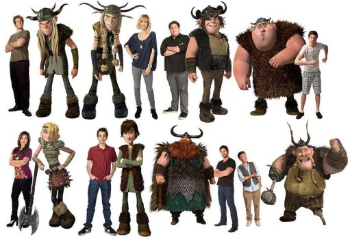 HTTYD-characters + voiceactors by rhodestwins