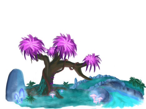 Stylized enviroment practice luminescent forest by DragonLoreStudios