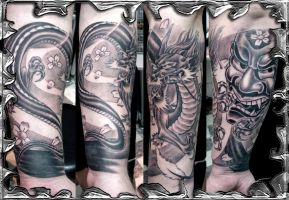 Oriental Sleeve - tattoo by mojotatboy