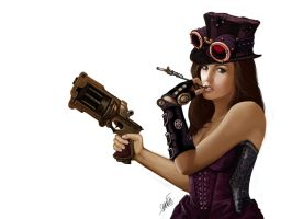 Steampunk girl - Girls don't like Guns by DanRedskins